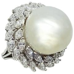 Huge 16.5mm Pearl and Diamond Platinum Statement Ring