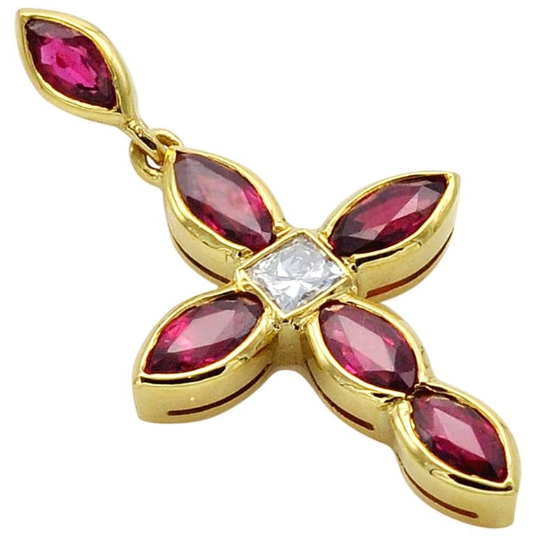 Ruby Diamonds and Gold Cross Pendant Charm