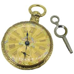Pre-1822 MI Tobias and Co 18K Yellow Gold Pocket Watch with Winding Key