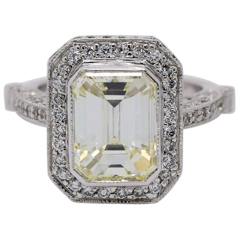 5 Carat Emerald Cut Diamond Cocktail Ring At 1stdibs