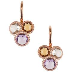 Amethyst, Prasiolite and Cognac Quartz 18 Karat Rose Gold and Diamond Earrings