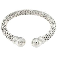 14 Karat Diamond Cuts Mesh Ball Bangle
