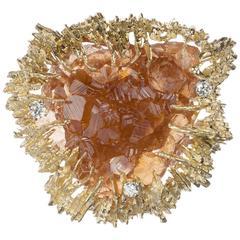 Brownish-Orange Fluorite Crystal and Diamond Brooch