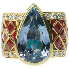 Migliore Aquamarine  Burma Ruby Diamond Ring