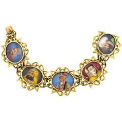 Retro Mughal Portrait Gold Bracelet