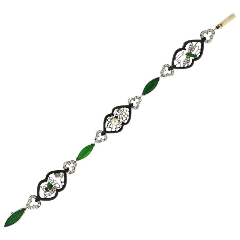 Marsh Art Deco Gold Oxidized Steel Jadeite Diamond Pearl Bracelet For Sale