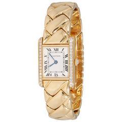 1980's Cartier Paris Woven Pattern Tank Style Gold & Diamond Watch