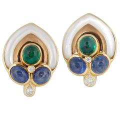 1980's  Pearl And Cabochon Emeralds ,Sapphires With Diamond Gold Earclips