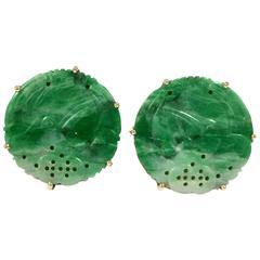 Old Carved Jade Gold Cufflinks