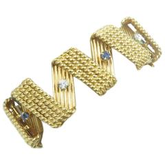 Diamond Sapphire Gold Bracelet.