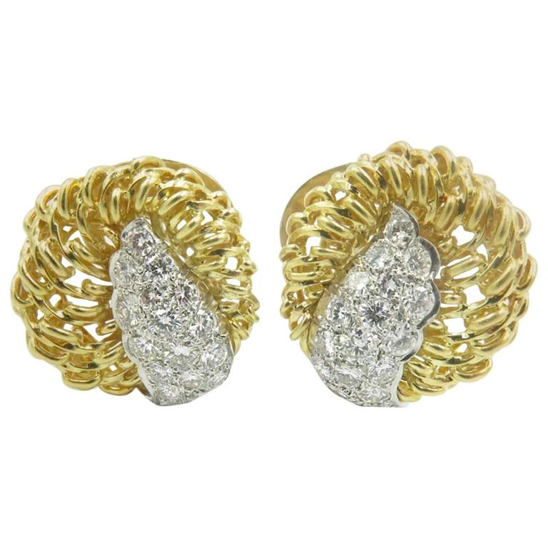Diamond Gold Platinum Earrings.