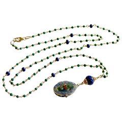Micro Malachite Lapis Antique Enamel Baby Moses Basket Locket Necklace