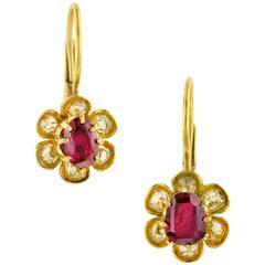 Antique Ruby Old Mine Cut Diamond Earrings