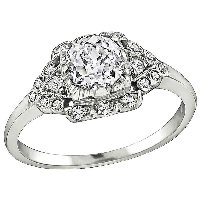 Art Deco Old European Cut Diamond Platinum Engagement Ring For Sale