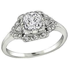 Art Deco Old European Cut Diamond Platinum Engagement Ring