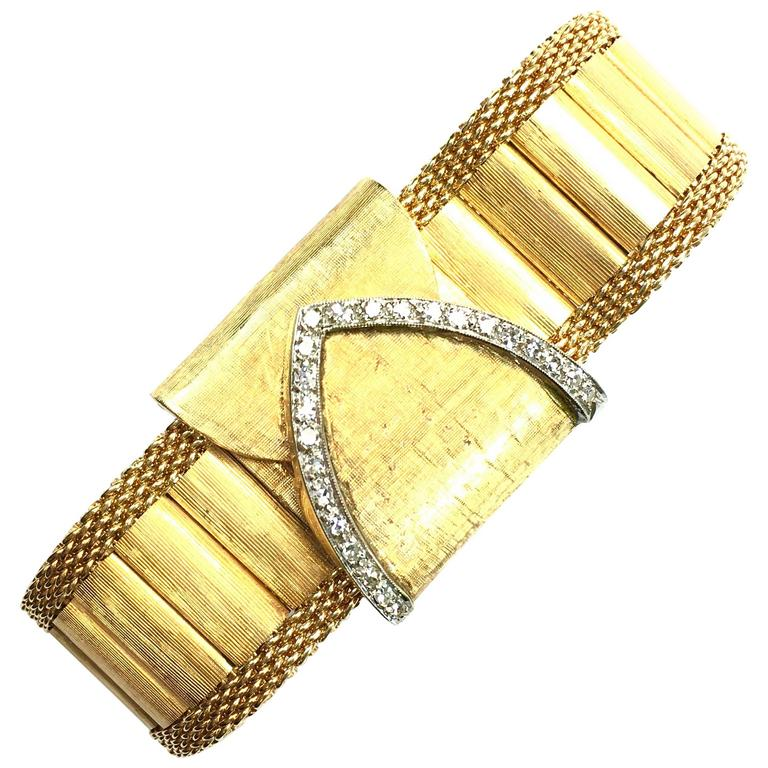 Large Diamond Gold Covered Face Bracelet Watch