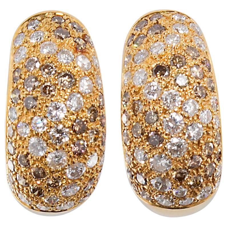 Cartier Sauvage White and Cognac Diamond Bombé Earrings