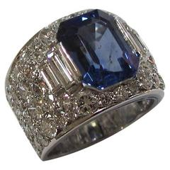 Bulgari Trombino 6.56 Carat Certified Sapphire Diamond Platinum Ring