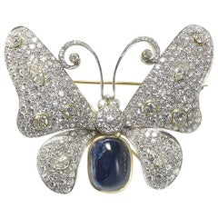 Sapphire, Diamond, Platinum Butterfly Brooch