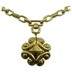 David Webb Gold Link Necklace with Large Pendant