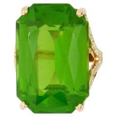 Large Peridot Diamond Ring