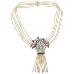 Luise Diamond Emerald Ruby Pearl Bouquet Beaded Necklace