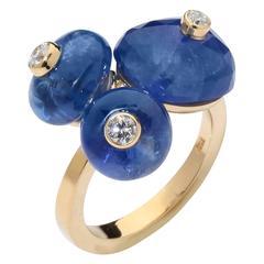 Yellow Gold 3 Beautiful Unheated Sapphire Diamond Ring