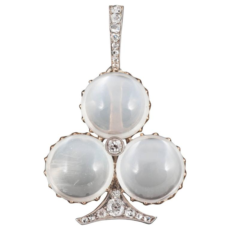 Edwardian Moonstone and Diamond brooch pendant