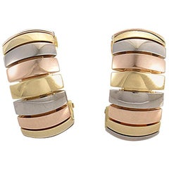 Cartier Tri-Gold Clip-On Huggie Earrings