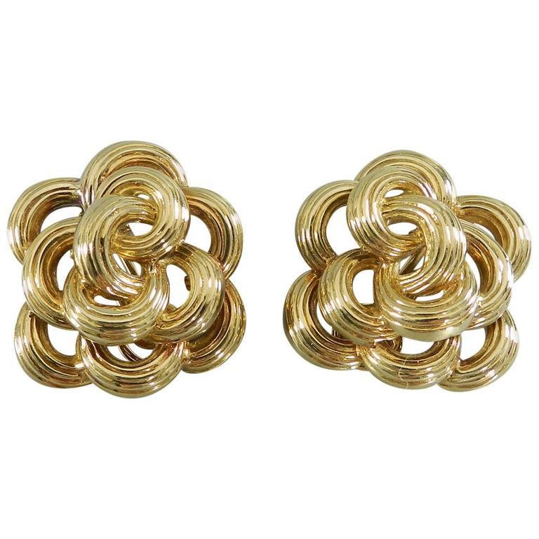 1970s Italian Frascarolo Pierino Gold Swirl Clip-On Earrings
