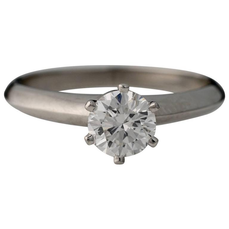 1990s Tiffany & Co Platinum Diamond Engagement Ring, 0.73 Carat, GIA Certified