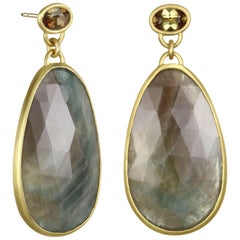 Faye Kim 18k Gold Sapphire Slice and Andalusite Pendant Earrings