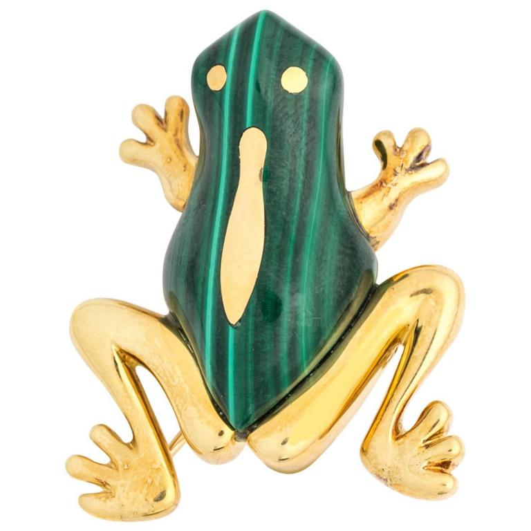 Tiffany & Co. Hong Kong Malachite Gold Pin Brooch