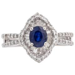 Blue Sapphire and Diamond 18 Karat White Gold Cluster Ring