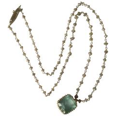 Dalben Aquamarine Diamond Rosary Gold Necklace
