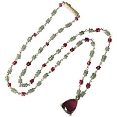 Dalben Red Tourmaline Sapphire Gold Rosary Necklace