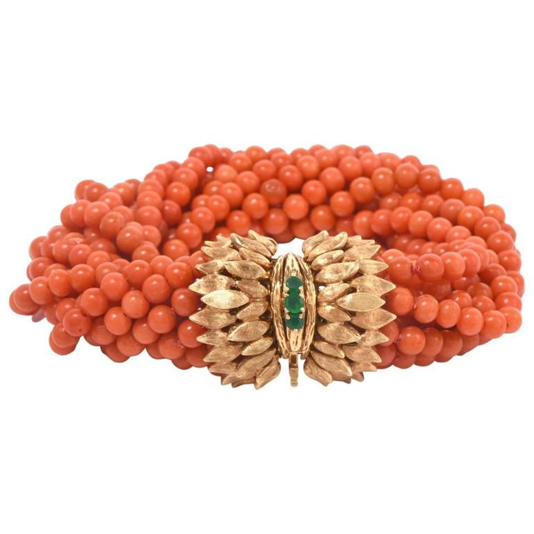 Multi-Strand Coral Bead Emerald Yellow Gold Bracelet For Sale