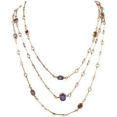 Antique Victorian No Heat Sapphire & Gems 64″ Long Gold Necklace