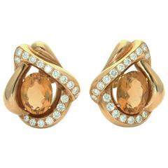 Renè Boivin Paris 1980s Citrine  Diamond Gold Earrings
