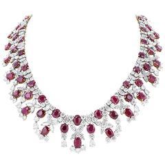 Burma Ruby Diamond Collar Necklace