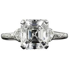 2.91 Asscher-Cut Diamond Solitiare Art Deco Ring - GIA G/VS2