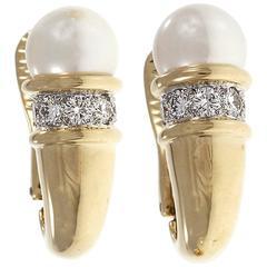 Gumps Cultured Pearl Diamond Gold Cornucopia Design Earrings