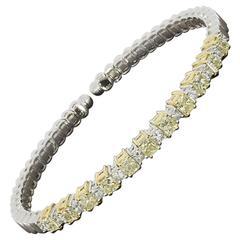 Two Tone Gold 2.5 Carats Canary Radiant & Princess Diamond Flex Bangle Bracelet
