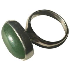 Georg Jensen Sterling Silver Ring No. 123B by Nanna Ditzel with Natural Jade