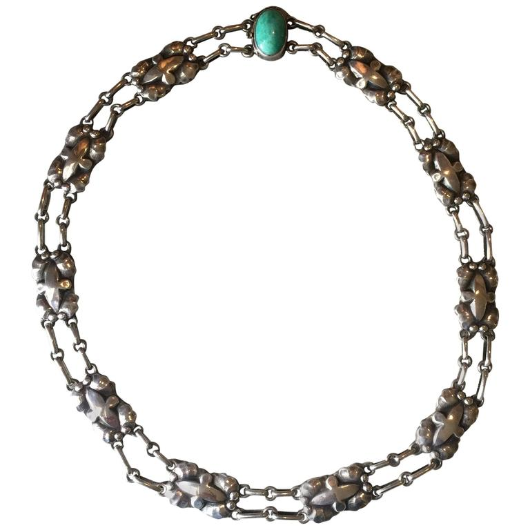Georg Jensen 830 Silver Necklace, No. 2 with Amazonite Cabochon 1