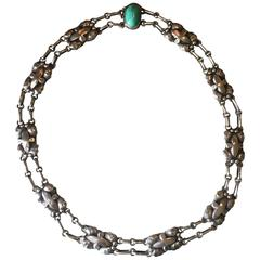 Georg Jensen 830 Silver Necklace, No. 2 with Amazonite Cabochon