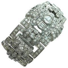 1930s Large Diamond Platinum Bracelet