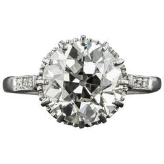 3.36 Carat European-Cut Diamond Solitaire Ring - GIA J VS2
