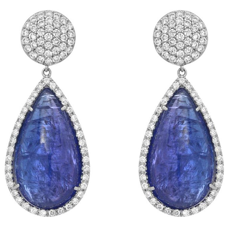 Cabochon Tanzanite Diamond Gold Drop Earrings