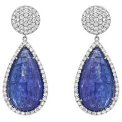 Cabochon Tanzanite Diamond Gold Drop Earrings